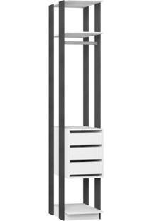 Estante Com Gaveteiro- Branco & Espresso- 220X41X44,Bentec