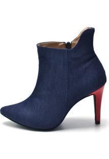 Bota Feminina Cano Curto Jeans Azul