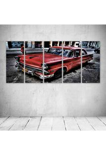 Quadro Decorativo - Car Red Vintage - Composto De 5 Quadros - Multicolorido - Dafiti