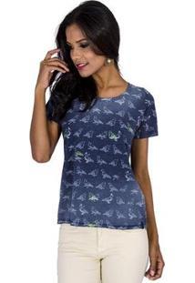 Camiseta Colcci Birds Cantão Feminina - Feminino-Azul