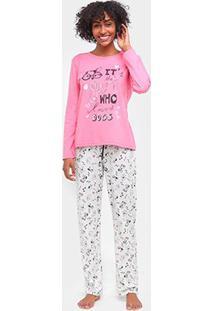 Pijama Longo Three Hands Estampado Feminino - Feminino-Rosa