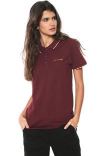 ... Camisa Polo Calvin Klein Jeans Logo Bordô 33b54f038d7d8