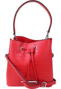 Bolsa Santa Lolla Saco Croco Alto Brilho Feminina - Feminino-Vermelho
