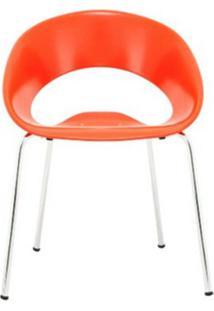 Cadeira One Base Fixa Cromada Cor Laranja - 30349 - Sun House