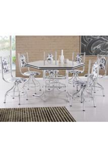 Conjunto De Mesa Com 6 Cadeiras Giratórias Zeus Móveis Brastubo Cromado/Floral