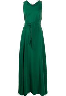 Aspesi Vestido De Seda Com Amarração Na Cintura - Verde