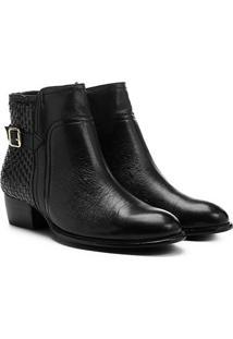 Bota Couro Cano Curto Shoestock Flat Tressê Feminina - Feminino-Preto
