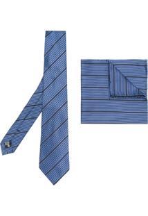 Armani Collezioni Gravata Com Lenço De Bolso Em Seda - Azul