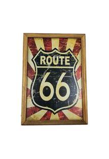 Quadro Decorativa Quarto Sala Route66 Azul E Vermelho