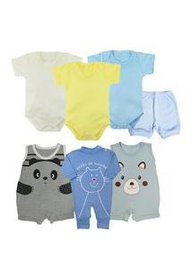 Kit Roupa De Bebê 7 Pçs Presente Enxoval Verão Menino Menina Azul
