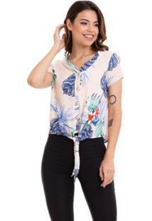 Blusa Kinara Cropped Crepe Estampada Amarração Na Cintura Feminina - Feminino-Bege