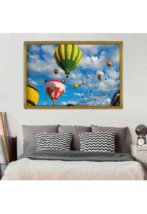 Quadro Love Decor Com Moldura Balloons In The Sky Dourado Grande