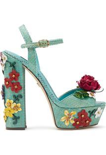 Dolce & Gabbana Sandália Com Aplicação Floral - Azul