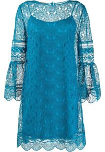 Alberta Ferretti Embroidered Lace Layered Dress - Azul