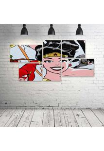 Quadro Decorativo - Wonder-Woman-Ligue - Composto De 5 Quadros - Multicolorido - Dafiti
