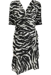 Isabel Marant Vestido Franzido Com Estampa De Zebra - Preto