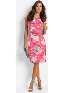 8bc7f0f42b -42% Vestido Tubinho De Malha Estampado Rosa