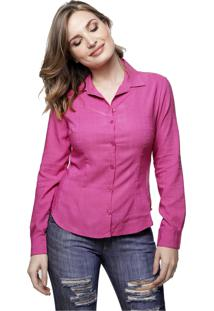 Camisa Sob Rosa Com Textura Em Viscose Rosa