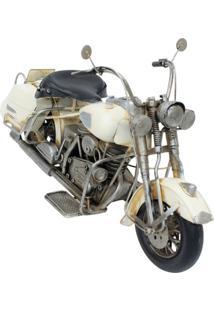 Enfeite Retrô Minas De Presentes Motocicleta Branco