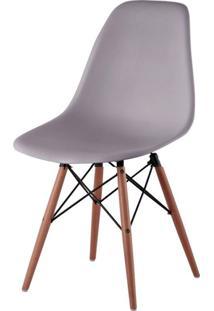 Cadeira Com Encosto E Pés Em Madeira Flórida Siena Móveis Cinza