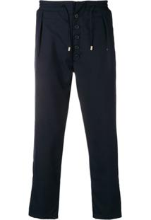 Sunnei Drawstring Straight-Leg Trousers - Azul