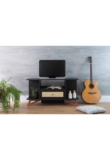 Rack Preto Para Tv Pequeno Stills Com Jatobá 108X33,6X56,5Cm