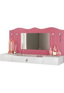 Penteadeira Suspensa Com Espelho Vip Branco/Pink - Colibri - Branco - Dafiti