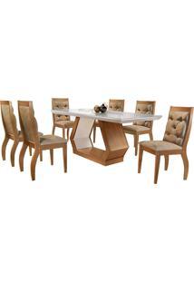 Conjunto De Mesa Para Sala De Jantar Ibis Tampo De Vidro Com 6 Cadeiras Agata-Rufato - Animalle Chocolate / Off White / Imbuia