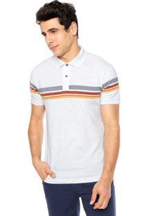 Camisa Polo Redley Listras Branca/Laranja