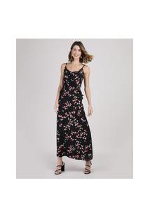 Vestido Feminino Longo Estampado Floral Com Babado Alça Fina Preto