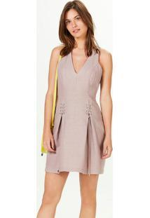 Vestido Curto Decote V Com Amarração Em Linho Rosa