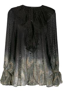Etro Dotted Sheer Paisley Blouse - Preto