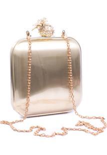 Bolsa Vicky Bijou Clutch Metal Dourado