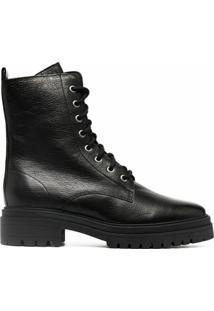 Ba&Sh Ankle Boot Comy Com Efeito Granulado - Preto
