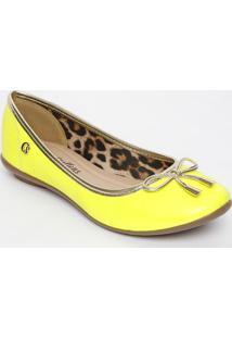 Sapatilha Com Laço & Vivo- Amarelo Neon & Douradacarmen Steffens
