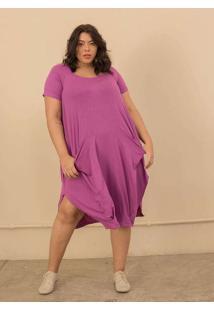 Vestido Saruel Tecido Ultra Leve Plus Size Roxo