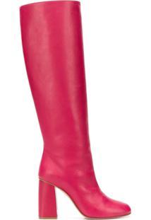 Red Valentino Bota Altura Do Joelho De Couro - Rosa