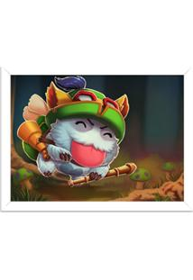 Quadro Decorativo Gamer League Of Legend Teemo Poro Branco - Grande