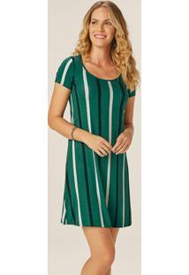 Vestido Verde Listrado Evasê Em Viscose