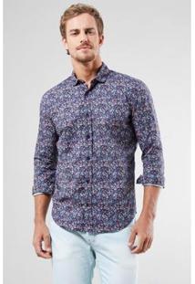 Camisa Pf Enxuto Liberty Floral Navy Reserva Masculina - Masculino-Azul