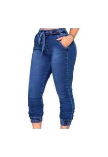 Calça Jogger Jeans Feminina Fec Fashion Premium Azul