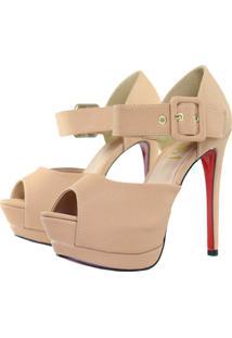 Sandália Week Shoes Meia Pata Nobuck Brilho Nude