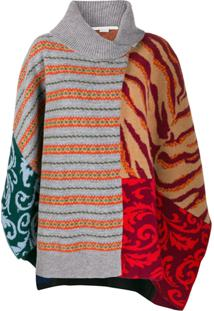 Stella Mccartney Multi-Pattern Knitted Poncho - Cinza