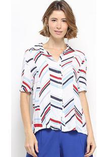 Camisa Manga Curta C & V Collection Listrada Feminina - Feminino-Branco+Vermelho