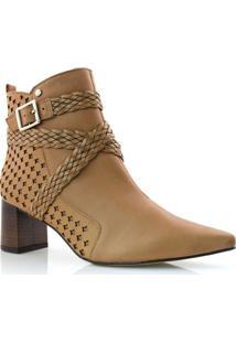 Ankle Boots De Couro E Salto Bloco Tanara