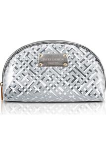 Necessaire Meia Lua Transparente Diamantes Jacki Design Prata - Prata - Feminino - Dafiti