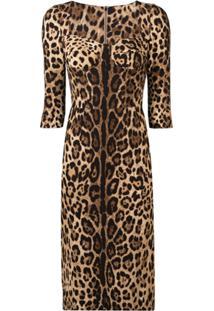 Dolce & Gabbana Vestido Slim Com Animal Print - Marrom