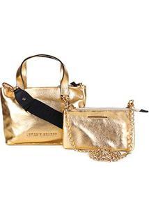 Bolsa Jorge Bischoff Tote Shopper+Mini Bag Com Alça Corrente Metalizada Feminina - Feminino-Dourado