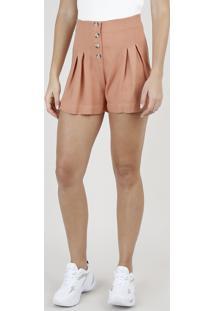 Short Feminino Cintura Super Alta Com Pregas E Botões Laranja Claro