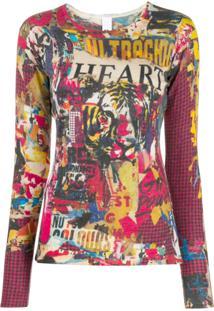Ultràchic Blusa De Tricô Com Estampa - Rosa